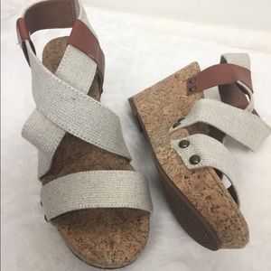 Lucky Brand Marla Multi Strap Wedge Sandals 7